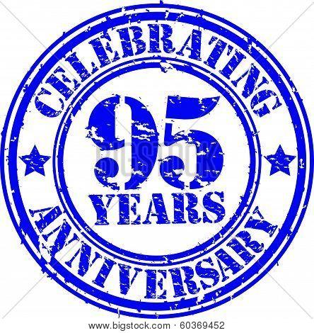 Celebrating 95 years anniversary grunge rubber stamp, vector illustration