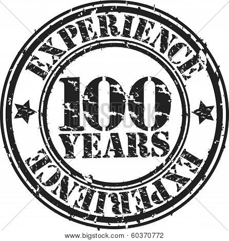 Grunge 100 years of experience rubber stamp, vector illustration