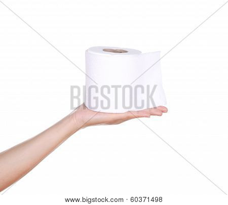 hand with toilet paper roll