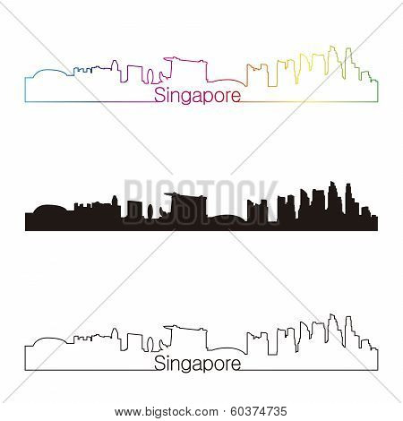 Singapore Skyline Linear Style With Rainbow