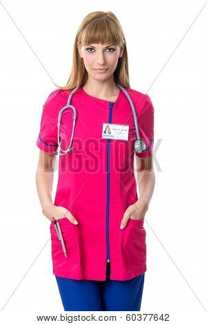 Pretty nurse in pink dress