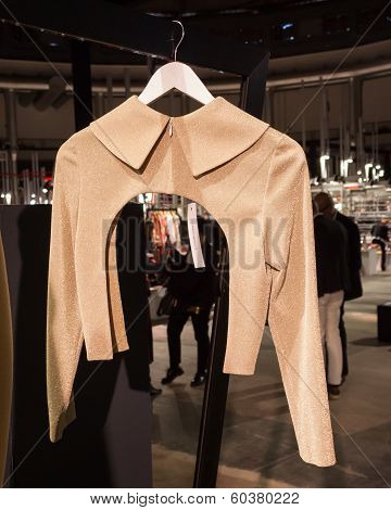 Elegant Jacket On Display At Mipap Trade Show In Milan, Italy