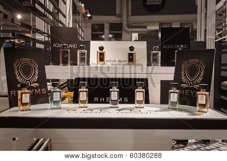 Perfume Bottles On Display At Mipap Trade Show In Milan, Italy