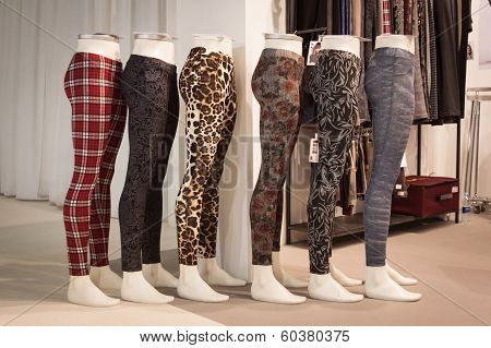 Leggings On Display At Mipap Trade Show In Milan, Italy