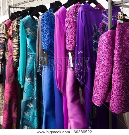Colorful Dresses On Display At Mipap Trade Show In Milan, Italy