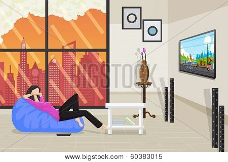 Lady Relaxing and Watching Television