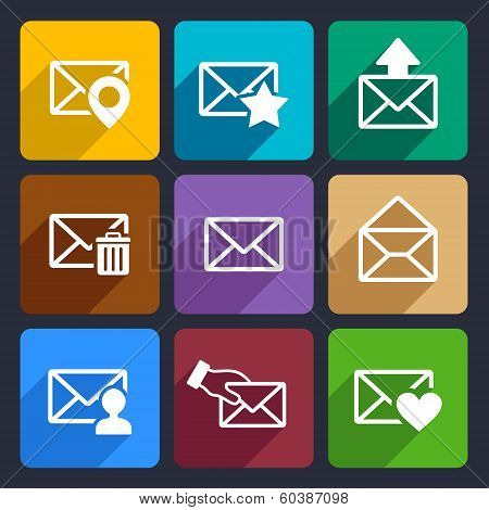 Mail  Flat Icons Set