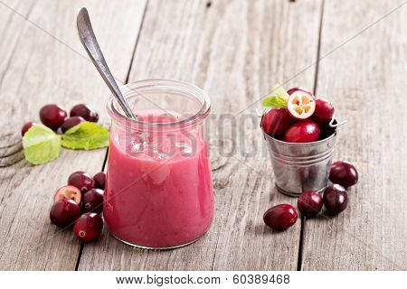 Cranberry curd with fresh cranberries