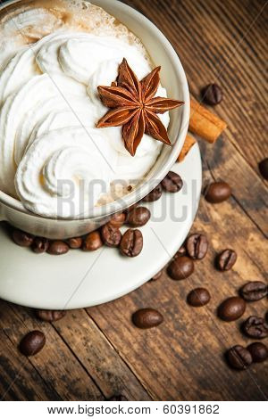 Delicious Cup Of Coffee In A Rustic Background.