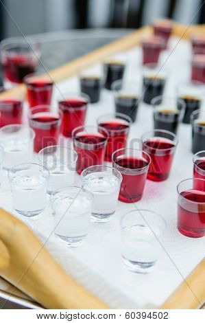 Shotglasses with different liquers