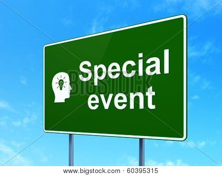 Business concept: Special Event and Head With Light Bulb on road sign background