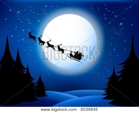 Santa`s sleigh - vector (blue version)