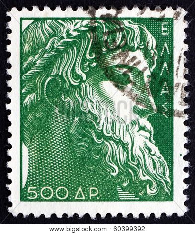 Postage Stamp Greece 1954 Zeus Of Istiaea