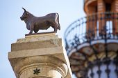 Aragon Teruel El Torico statue and modernist building in Plaza Carlos Castel square at Spain
