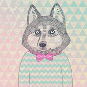 Husky hipster dog. Concept cartoon illustration in modern colors. Cute dog on seamless pattern. Chil