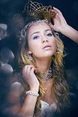 picture of snow queen  - beauty young snow queen in fairy flashes with crown on her head close up - JPG
