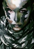 picture of khakis  - Beautiful young fashion woman with military style clothing and face paint make - JPG