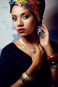picture of racy  - beauty bright african woman with creative make up - JPG