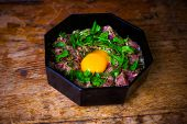 Freshly Made Steak Tartare With Raw Egg Yolk