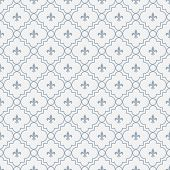 White And Pale Blue Fleur-de-lis Pattern Textured Fabric Background