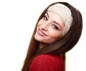 Happy Woman In Headband Looking Isolated