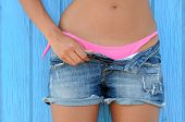 Woman In Jeans Texas Shorts