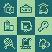 Real estate web icons, green square buttons set