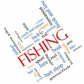 foto of fishing bobber  - Fishing Word Cloud Concept angled with great terms such as bobber lure pole and more - JPG