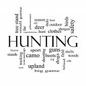 image of hunt-shotgun  - Hunting Word Cloud Concept in black and white with great terms such as shotgun game deer and more - JPG