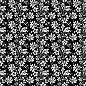 picture of dainty  - Beautiful intricate retro seamless floral pattern of densely packed dainty flowers in black and white suitable for wallpaper - JPG