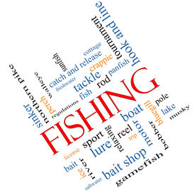 pic of fishing bobber  - Fishing Word Cloud Concept angled with great terms such as bobber lure pole and more - JPG