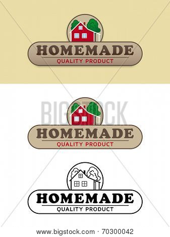 Homemade Product Label with Farmhouse Vector Illustration. Shaded, flat design and black and white variations of product and packaging label.