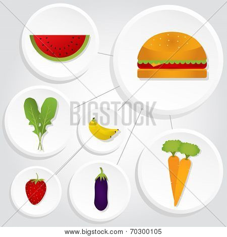Circular Icons Of Vegetables And Hamburger
