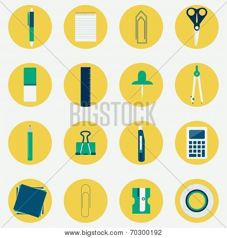 Colorful Circular Icons Of Office Supplies