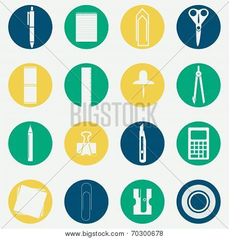 Monochromatic Icons Of Office Supplies