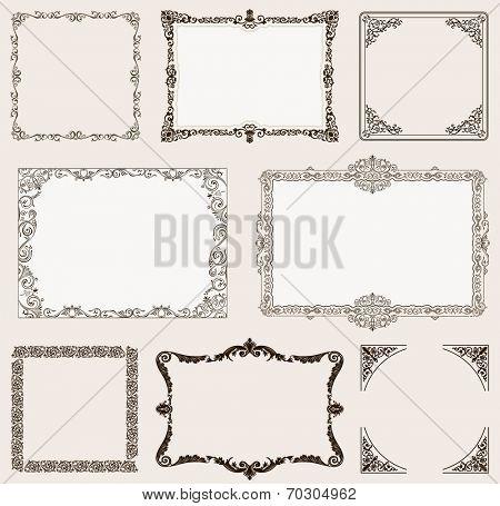 Vector set. Ornate frames and vintage scroll elements for design