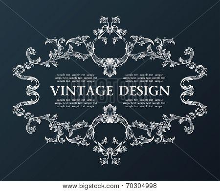Vector vintage royal old frame ornament decor black illustration