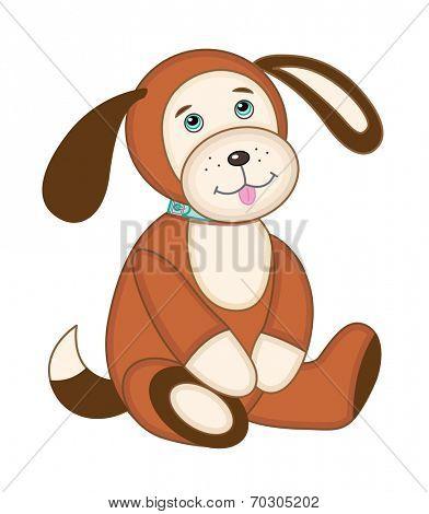 Cute plush toy puppy (vector illustration)