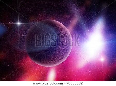 Planet Among Stars In Deep Space