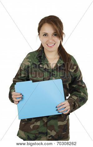 Young smiling teeange girl wearing military jacket and holding plastic folder