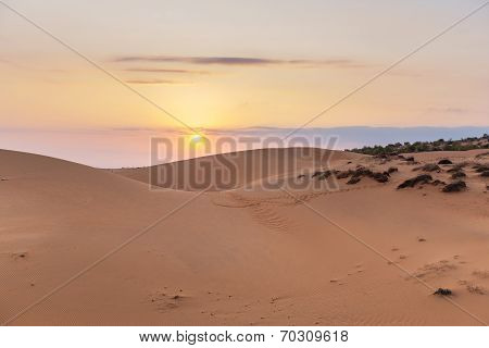Sand hill in the sunset at Phan Thiet , Binh Thuan province,  Vietnam