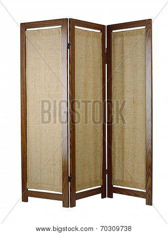 A fabric partition with a wooden frame