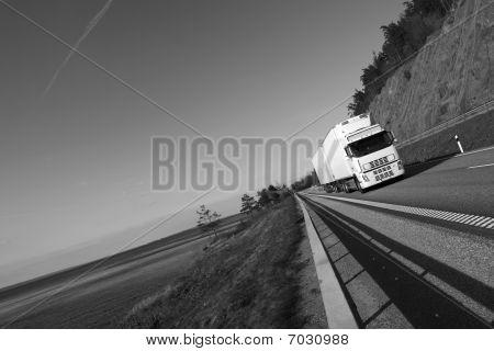 truck on scenic highway