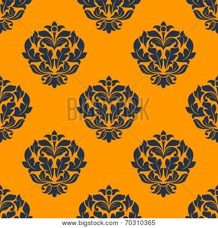 Indigo colored floral seamless pattern