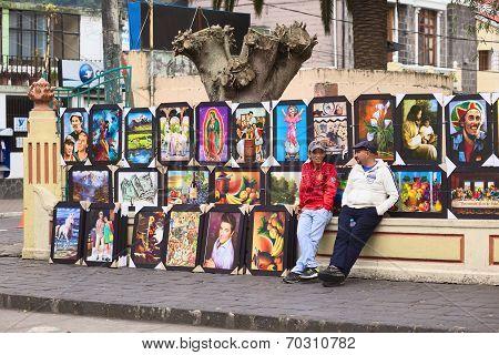 Selling Paintings in Banos, Ecuador