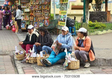 Selling Candles in Banos, Ecuador