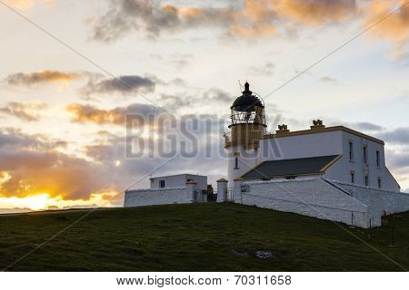 Stoer Lighthouse during sunset, Highlands, Scotland