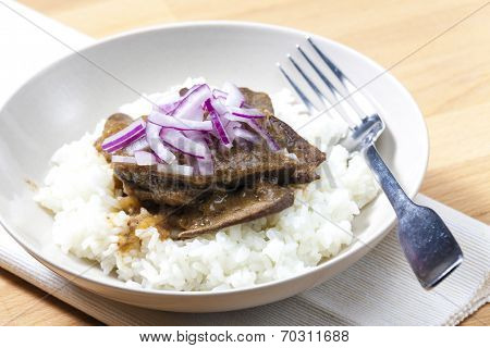 beef rump steak with onion and rice