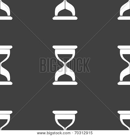 Sand clock Glass timer web icon. flat design. Seamless gray pattern.