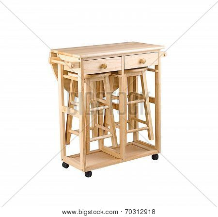 Folding and movable wooden table with drawers and chairs
